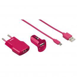 Hama micro USB nabíjecí set Picco 3v1, rùžová