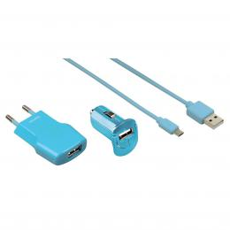 Hama micro USB nabíjecí set Picco 3v1, tyrkysová