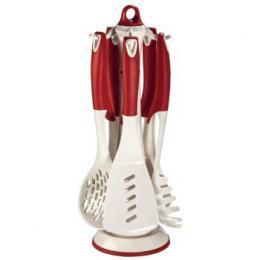 Xavax set nylonových kuchyòských pomùcek s otoèným stojanem, 6-dílný, bílo-èervený