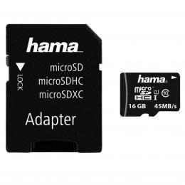 Hama microSDHC 16 GB UHS-I 45 MB/s Class 10   Adapt�r