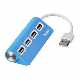 Hama USB 2.0 Hub 1 4, napájení USB, modrý