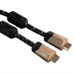 Hama HDMI kabel vidlice-vidlice, 1,5 m, pozlacený, ferity, kovové vidlice, opletený, 5