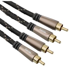 Hama audio kabel 2 cinch vidlice-vidlice, 1,5 m, pozlacený, opletený, kovové vidlice, 5