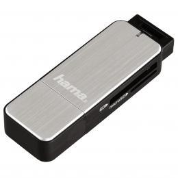 Hama �te�ka karet USB 3.0 SD/microSD, st��brn�