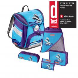 Školní aktovka - 5-dílný set, Step by Step Touch Delfíni, certifikát AGR