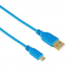 Hama micro USB kabel Flexi-Slim, oboustranný konektor, 0,75 m, modrý