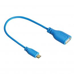 Hama micro USB OTG redukce Flexi-Slim, oboustranný konektor, 15 cm, modrá