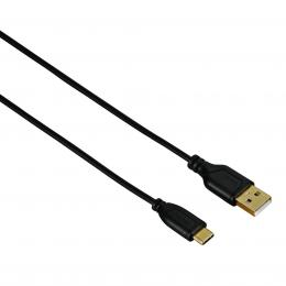 Hama USB-C kabel Flexi-Slim, typ A vidlice - typ C vidlice, 0,75 m, èerný