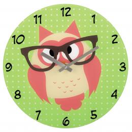 Hama nástìnné hodiny Sova s brýlemi, tichý chod, sklenìné