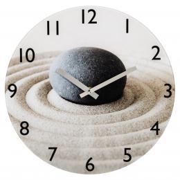 Hama nástìnné hodiny Sand with Stone, tichý chod, sklenìné