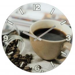 Hama nástìnné hodiny Coffee, tichý chod, sklenìné