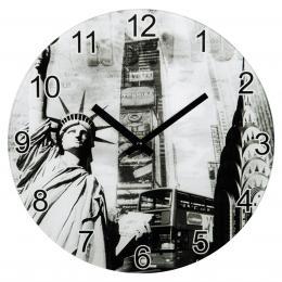 Hama nástìnné hodiny New York, tichý chod, sklenìné