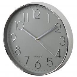 Hama Elegance nástìnné hodiny, prùmìr 30 cm, tichý chod, støíbrné/šedé
