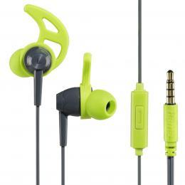Hama sluchátka s mikrofonem Action, silikonové špunty, šedá/zelená