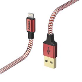 Hama MFI USB kabel Reflective pro Apple, Lightning vidlice, 1,5 m, èervená