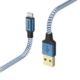 Hama MFI USB kabel Reflective pro Apple, Lightning vidlice, 1,5 m, modrá