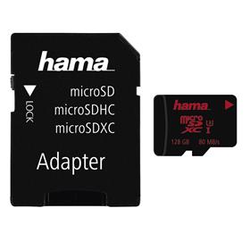 Hama microSDXC 128 GB UHS Speed Class 3 UHS-I 80 MB/s   adpat�r