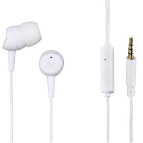Hama sluchátka s mikrofonem Basic4Phone, špunty, bílá