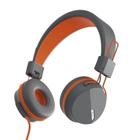 Hama on-ear sluchátka s mikrofonem Next, šedá/oranžová