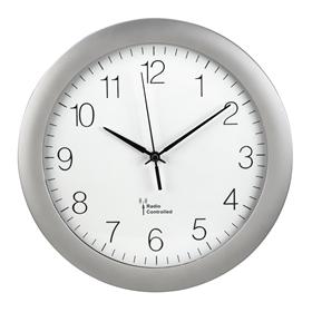 Hama PG-300, nástìnné hodiny øízené rádiovým signálem, støíbrné