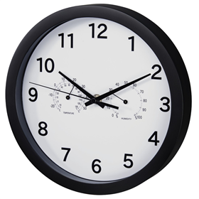 Hama Pure Plus, nástìnné hodiny s teplomìrem/ vlhkomìrem, 25 cm, tichý chod