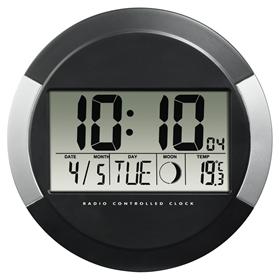 Hama PP-245, digitální nástìnné hodiny øízené rádiovým signálem DCF, èerné