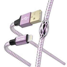 Hama MFI USB kabel Reflective pro Apple, Lightning vidlice, 1,5 m, rùžová