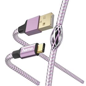 Hama kabel Reflective USB-C 2.0 typ A - typ C, 1,5 m, rùžová