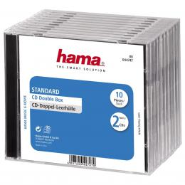 Hama standard CD Double Jewel Case, pack of 10, transparent/black