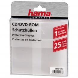 Hama ochranný obal pro CD/DVD, 25ks/bal, transparentní