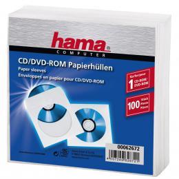 Hama ochranný obal pro CD/DVD, 100ks/bal, bílý, balení PE fólie