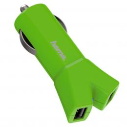 Hama dvojitá USB nabíjeèka do vozidla Color Line, AutoDetect, 3,4 A, zelená