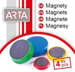 Magnety ARTA prùmìr 40mm, èervené (4ks v balení)