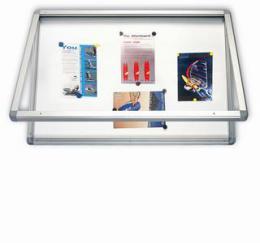 Venkovní vitrína s horizontálním otevíráním, lakovaná magnet.